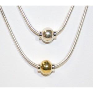 Single Silver Ball Necklace