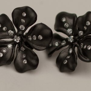 Black Gold Flower Earrings with CZ