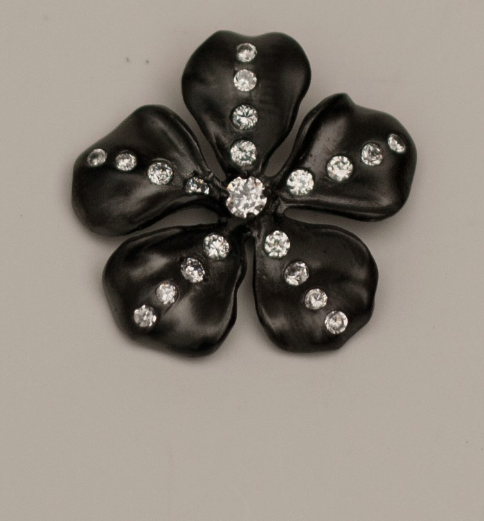 Black Gold Flower Pendant with CZ