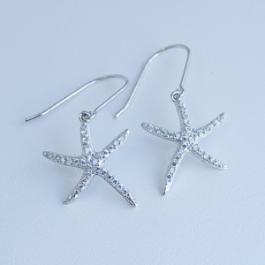 Dainty CZ Dancing Starfish Earrings