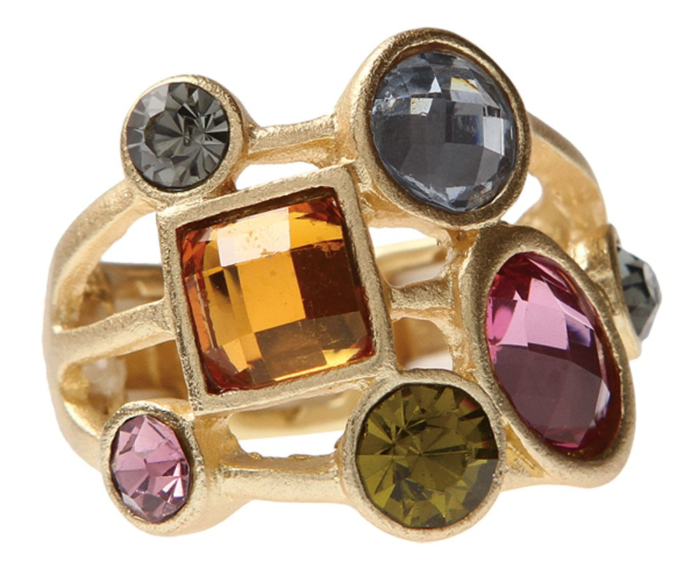 Gold Tone Multi Colored Confetti Ring
