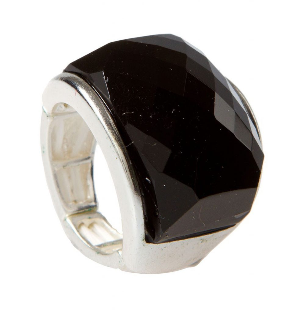Black Faceted Dome Silver Ring