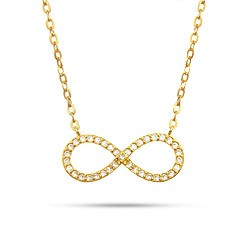 Gold Tone CZ Infinity Necklace