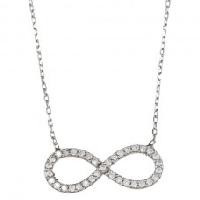 Sterling Silver and CZ Infinity Necklace