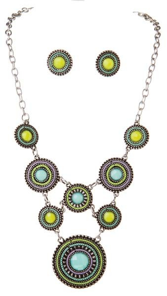 Silver Aqua, Lavender And Green Beaded Discs Bib Style Necklace Set