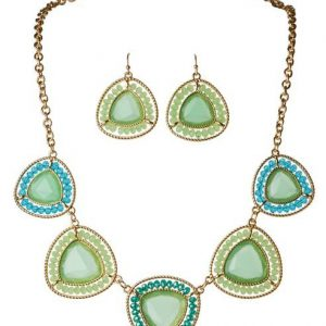 Gold Green Triangles With Blue Green Beaded Edge Necklace Se