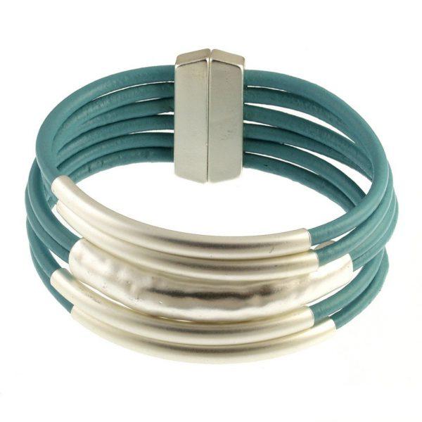 Multi Tube Leather Bracelet
