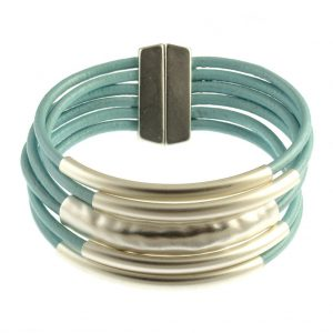Multi Tube Leather Bracelet Aqua