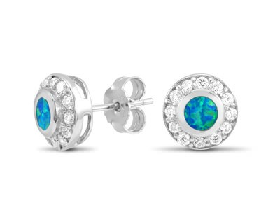 Round Opal and CZ Stud Earrings